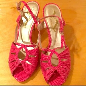 Nina Magenta Snakeskin Shoes, worm once
